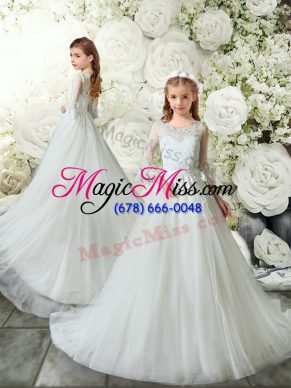Romantic White A-line Lace Toddler Flower Girl Dress Clasp Handle Tulle 3 4 Length Sleeve