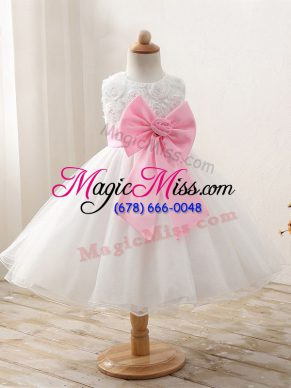 White Sleeveless Organza Zipper Kids Pageant Dress for Wedding Party