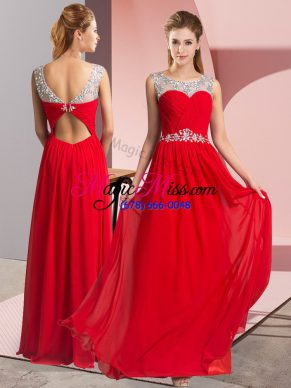 Red Clasp Handle Scoop Beading Evening Dress Chiffon Sleeveless