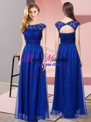 Colorful Floor Length Zipper Prom Dress Royal Blue for Prom and Party with Lace