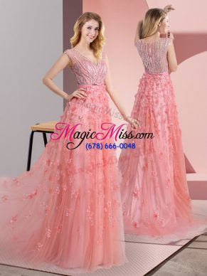 Pink Empire V-neck Sleeveless Tulle Sweep Train Zipper Beading and Appliques Homecoming Dress