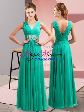 Great Floor Length Side Zipper Prom Gown Turquoise for Prom and Party with Beading and Ruching