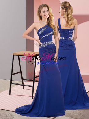 Pretty Sleeveless Floor Length Beading Lace Up Prom Dress with Blue Sweep Train