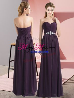 Dark Purple Sleeveless Chiffon Lace Up Prom Evening Gown for Prom and Party