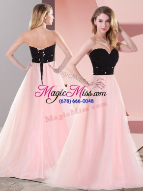 Excellent Empire Prom Evening Gown Pink And Black Sweetheart Tulle Sleeveless Floor Length Lace Up