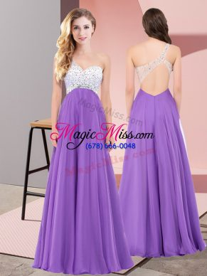One Shoulder Sleeveless Chiffon Prom Dresses Beading Lace Up
