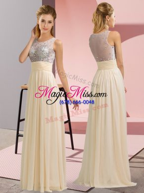 Sleeveless Chiffon Floor Length Side Zipper Homecoming Dress in Champagne with Beading