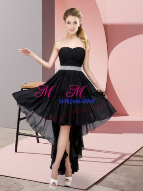 Edgy Black Lace Up Prom Dress Beading Sleeveless High Low