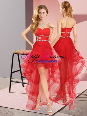 Sweetheart Sleeveless Lace Up Prom Dresses Red Tulle