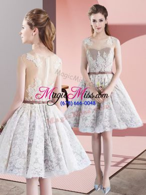 Decent Scoop Sleeveless Prom Party Dress Mini Length Appliques and Belt White Taffeta and Tulle