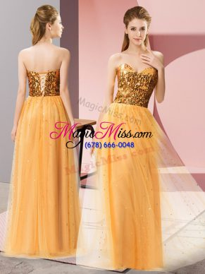 Sweetheart Sleeveless Prom Party Dress Floor Length Sequins Gold Tulle