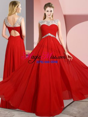 Glittering Red Sleeveless Chiffon Clasp Handle for Prom and Party