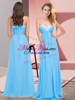 Empire Prom Evening Gown Aqua Blue Sweetheart Chiffon Sleeveless Floor Length Lace Up