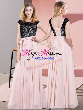 Sophisticated Floor Length Baby Pink Homecoming Dress Scoop Sleeveless Lace Up