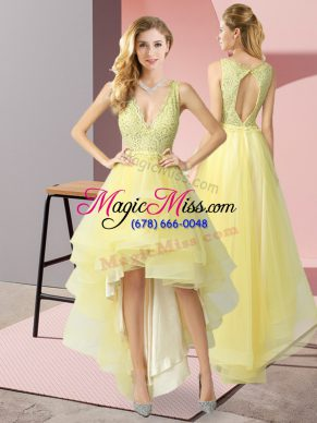 Yellow Tulle Backless Prom Evening Gown Sleeveless High Low Beading
