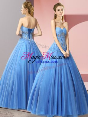 Elegant Baby Blue A-line Beading Lace Up Tulle Sleeveless Floor Length