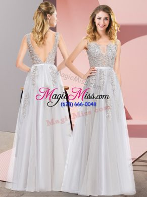 Pretty Lace and Appliques Prom Dresses Grey Backless Sleeveless Floor Length