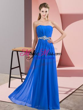 Floor Length Blue Dress for Prom Strapless Sleeveless Lace Up