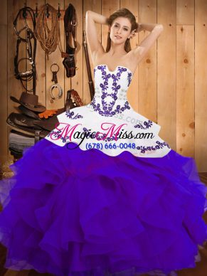Floor Length White And Purple 15 Quinceanera Dress Strapless Sleeveless Lace Up