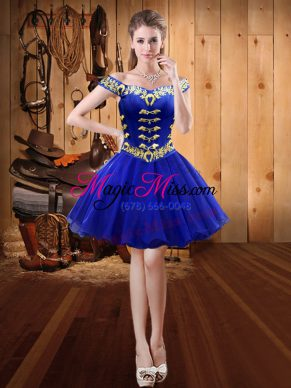 Free and Easy Royal Blue Off The Shoulder Neckline Embroidery Sleeveless Lace Up