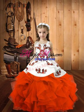 Sleeveless Organza Floor Length Lace Up Child Pageant Dress in Orange Red with Embroidery