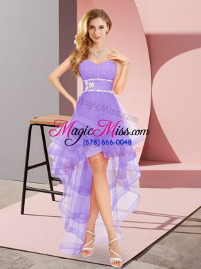 Tulle Sweetheart Sleeveless Lace Up Beading Bridesmaids Dress in Lavender