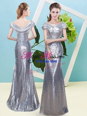 Elegant Scoop Cap Sleeves Zipper Dress for Prom Silver Sequined