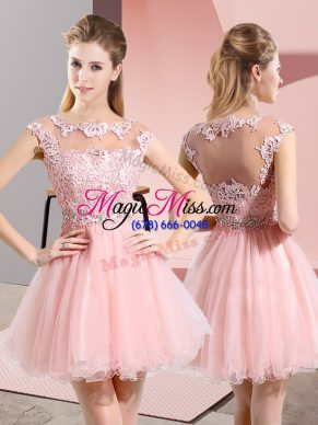 Baby Pink Side Zipper Scoop Beading and Lace Damas Dress Tulle Sleeveless