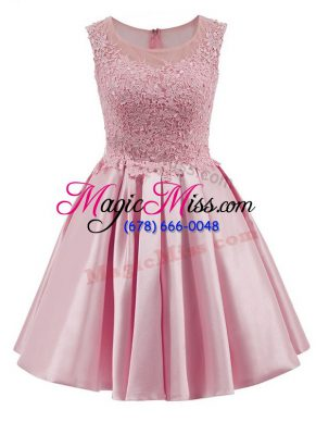 Dramatic Mini Length A-line Sleeveless Baby Pink Bridesmaid Gown Zipper