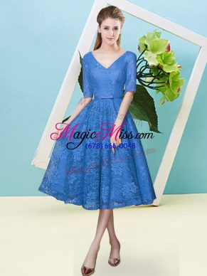 Blue Empire V-neck Half Sleeves Lace Tea Length Lace Up Bowknot Bridesmaid Dress