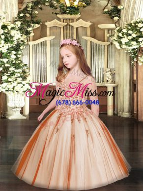 Rust Red Tulle Lace Up Kids Formal Wear Sleeveless Floor Length Appliques