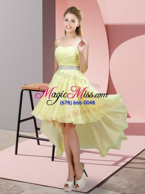 Super Yellow Sleeveless High Low Beading Lace Up Bridesmaids Dress