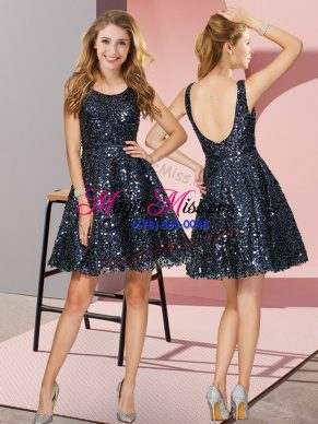 Fabulous Scoop Sleeveless Sequined Bridesmaid Dress Sequins Zipper