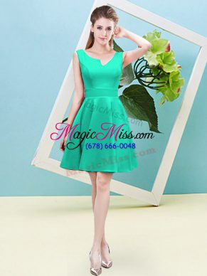 Lovely Mini Length Zipper Bridesmaid Dresses Turquoise for Prom and Party and Wedding Party with Ruching