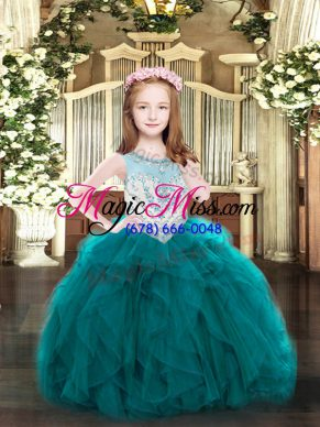 Teal Sleeveless Organza Zipper Pageant Gowns For Girls for Party and Quinceanera