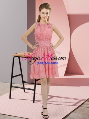 Hot Sale Watermelon Red Empire Sequins Vestidos de Damas Zipper Chiffon Sleeveless Knee Length