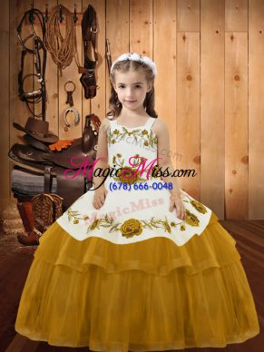 Affordable Gold Organza Lace Up Straps Sleeveless Floor Length Little Girls Pageant Dress Embroidery and Ruffled Layers