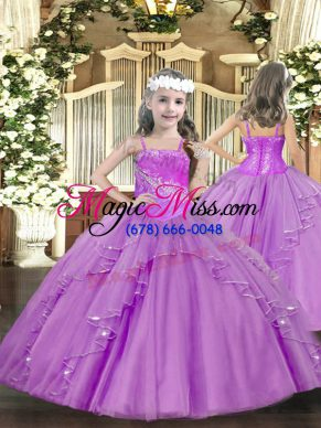 Fashionable Sleeveless Lace Up Floor Length Ruffles and Sequins Kids Pageant Dress