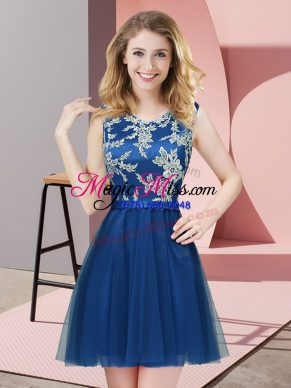 Pretty Blue Scoop Side Zipper Lace Bridesmaids Dress Sleeveless