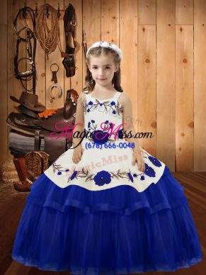 Cute Straps Sleeveless Organza Girls Pageant Dresses Embroidery and Ruffled Layers Lace Up
