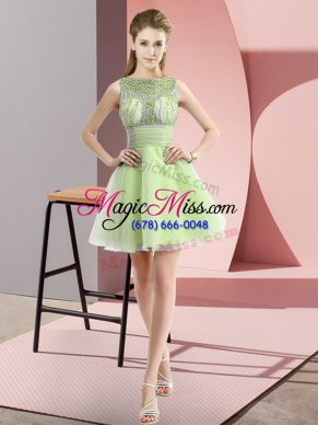 Exquisite Yellow Green Sleeveless Mini Length Beading and Bowknot Zipper Dress for Prom