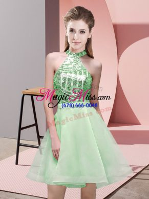 Mini Length Apple Green Bridesmaids Dress Halter Top Sleeveless Backless