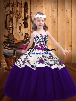 Sleeveless Embroidery Lace Up Little Girls Pageant Dress