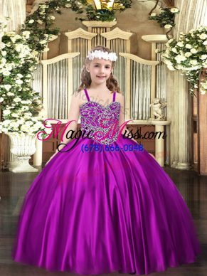 Purple Sleeveless Satin Lace Up Little Girl Pageant Dress for Party and Quinceanera