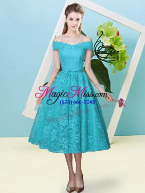 Off The Shoulder Cap Sleeves Bridesmaid Dress Tea Length Bowknot Teal Lace