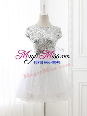 Cap Sleeves Tulle Mini Length Zipper Wedding Party Dress in White with Sequins