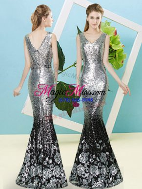 Delicate Silver Sleeveless Sequined Zipper Prom Party Dress for Prom and Party
