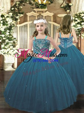 Perfect Teal Tulle Lace Up Pageant Gowns For Girls Sleeveless Floor Length Beading