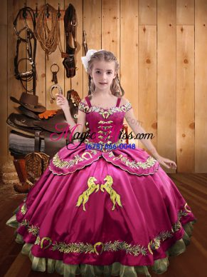 Hot Pink Satin Lace Up Off The Shoulder Sleeveless Floor Length Kids Formal Wear Beading and Embroidery