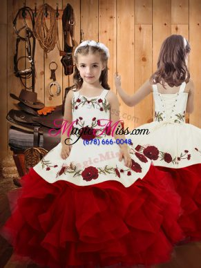 Low Price Ball Gowns Little Girl Pageant Gowns Wine Red Straps Satin and Tulle Sleeveless Floor Length Lace Up